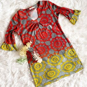 Aryeh Red Gray and Yellow 3/4 Sleeve Dress